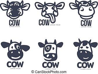 Set of funny cow head logo templates, cartoon vector...