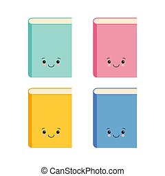 Set of funny cute book character, cartoon vector illustration isolated on white background.