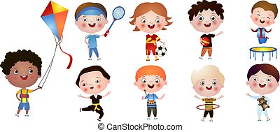 Set of funny cute boys with different activities and hobbies isolated on white background