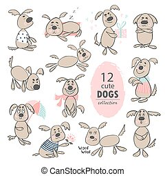 Set of funny cute cartoon dogs. Hand drawing isolated objects on white background. Vector illustration.