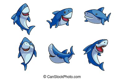 Set of funny cute happy blue sharks vector illustration