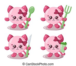 Set of funny cute kawaii cat with round body, spoon, fork, knife and cup in flat design with shadows