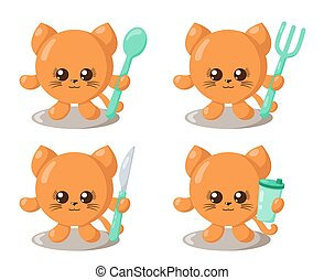 Set of funny cute kawaii cat with round body, spoon, fork, knife and cup in flat design with shadows.