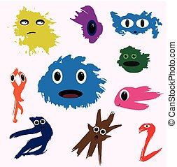 set of funny cute monsters colored blotch children