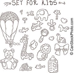 Set of funny doodle toys. Vector stickers collection.