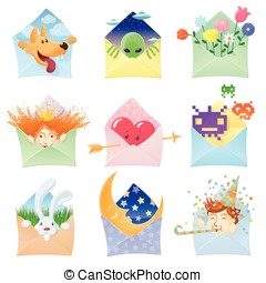 Set of funny envelopes