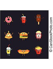 Set of funny fast food characters isolated on background. Cute cartoon fastfood menu icons in flat style vector illustration.