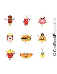 Set of funny fast food characters isolated on white background. Cute cartoon fastfood menu icons in flat style vector illustration.