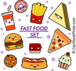 Set of funny fast food characters - pizza, French fries, burger, hot dog, sandwich ,cartoon vector illustration isolated on white background. Funny fast food characters
