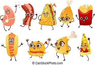 Set of funny fast food characters with human faces