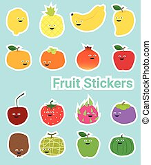 Set of funny fruit stickers