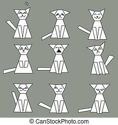 Set of funny geometric cats