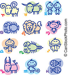 hand drawn zodiac signs