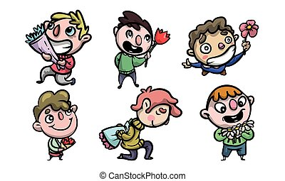 Set of funny happy smiling boys with the colorful flower bouquets. Vector illustration in flat cartoon style.