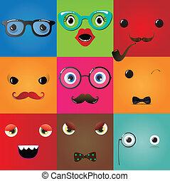 Set of funny hipster monster eyes, Vector Illustration