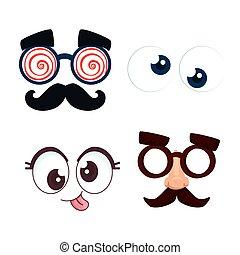 set of funny masks and eyes crazy