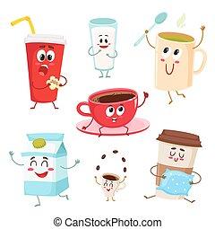 Set of funny milk, coffee, tea cup, glass, mug characters