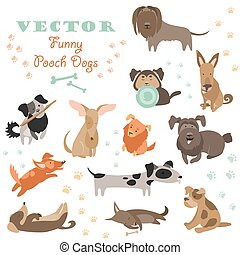 Set of funny Mixed Breed dogs. Vector isolated icons