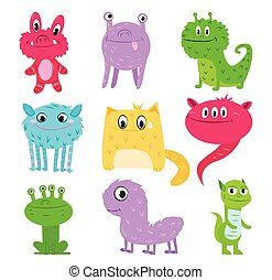 Set of funny monsters