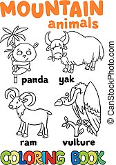 Set of funny mountain animals. Coloring book