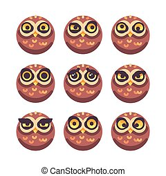Set of funny owl faces with different expressions
