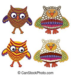 Set of funny owls