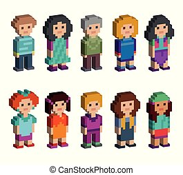 Set of funny pixel art style isometric characters
