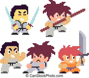Set of funny pixel characters