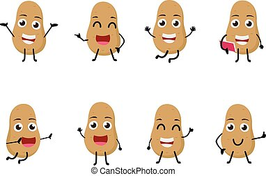 set of funny potato vegetable  cartoon character