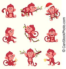 Set Of Funny Red Monkeys In Different Actions And Poses Vector Illustration Chartoon Caracter