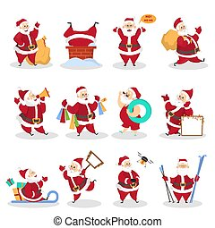 Set of funny Santa Claus celebrating Christmas