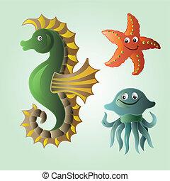 Set of funny sea animals