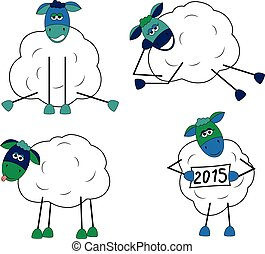Set of funny sheep