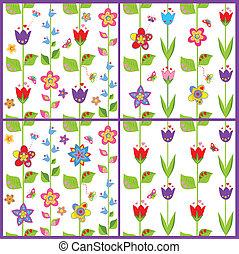 Set of funny spring floral wallpaper