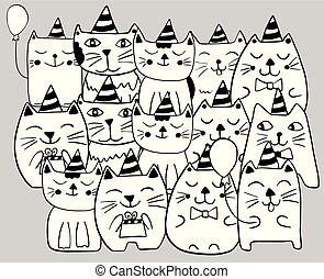 Set of funny stylized cats. Birthday celebration. Coloring page. Hand drawn doodle vector illustration.