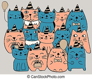 Set of funny stylized cats. Birthday party celebration. Blue and orange color. Hand drawn doodle vector illustration.