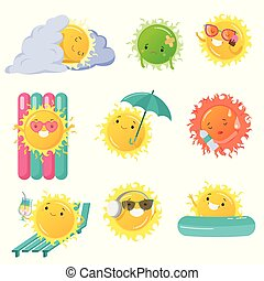 Set of funny sun icon vector illustration with different emotions
