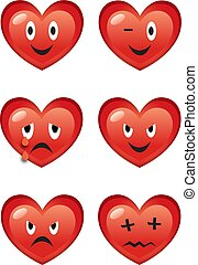 Set of funny vector cartoon hearts with various facial expressions isolated on white