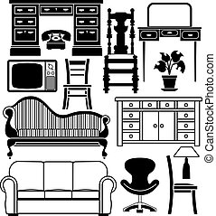 An illustration of a set of black and white furniture graphics