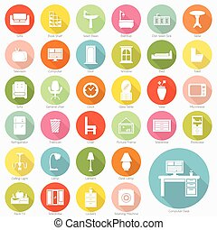Set of furniture flat icons design, vector eps10