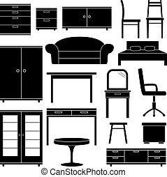 Set of furniture icons, vector illustration