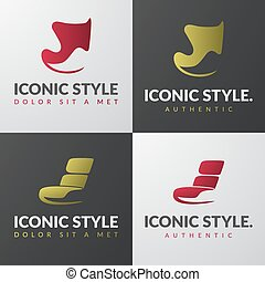 Set of furniture logo templates. Modern armchair design...