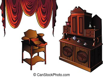Set of furniture with curtain