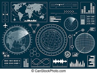 Set of futuristic user interface HUD. Infographic design...