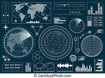 Set of futuristic user interface HUD. Infographic design elements and radar screens. Vector illustration.