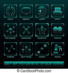 Set of Futuristic User Interface Icons