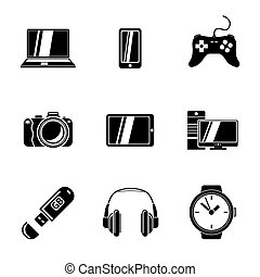 Set of GADGET icons with - notebook, phone, gamepad, photo...