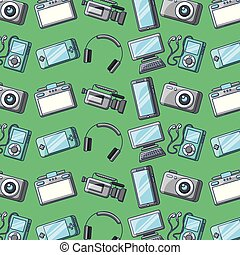 set of gadgets technology device digital elements seamless pattern