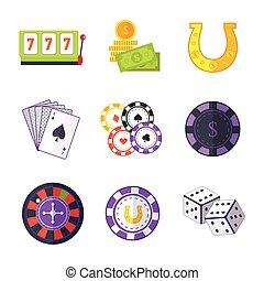 Set of Gambling Accessories Vector Illustrations.