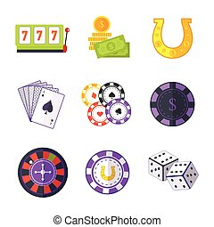 Set of Gambling Accessories Vector Illustrations.